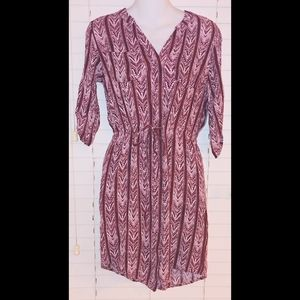 Cato maroon arrow print shirt dress
